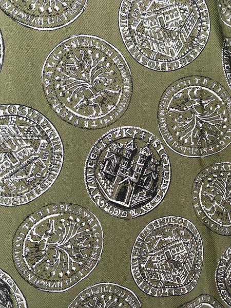 [4] 古着 60s Cranbrook 硬貨 メダル 総柄 ショール カラー ガウン コート 羽織 M 古着