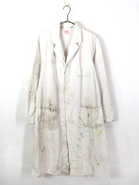 [1] 古着 50-60s INDU-TEX Industrial Whitewear ペンキ コットンツイル ショップ カー コート アジ 42 古着
