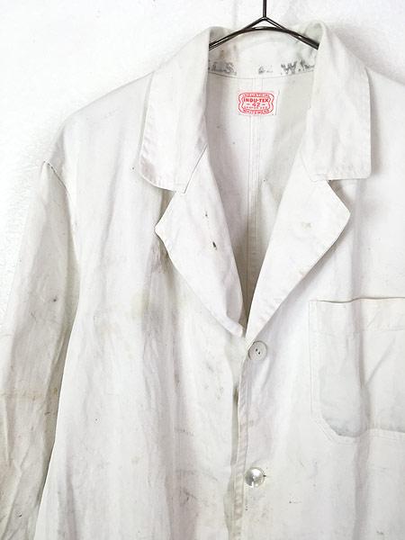 [2] 古着 50-60s INDU-TEX Industrial Whitewear ペンキ コットンツイル ショップ カー コート アジ 42 古着
