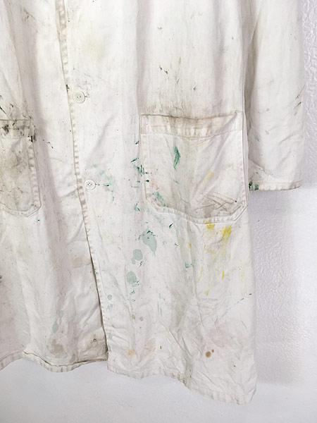 [3] 古着 50-60s INDU-TEX Industrial Whitewear ペンキ コットンツイル ショップ カー コート アジ 42 古着