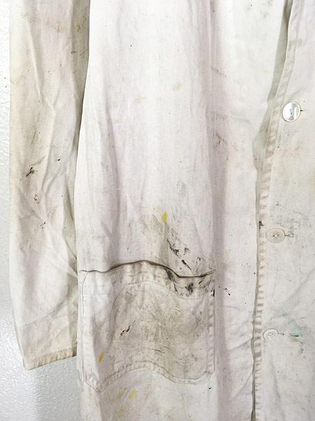 [4] 古着 50-60s INDU-TEX Industrial Whitewear ペンキ コットンツイル ショップ カー コート アジ 42 古着