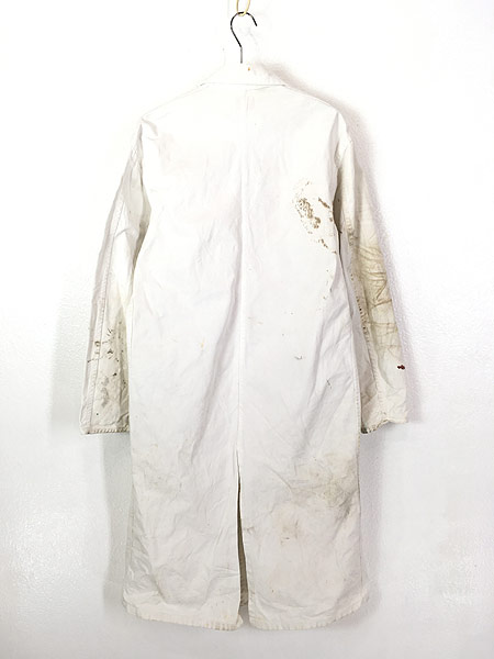 [5] 古着 50-60s INDU-TEX Industrial Whitewear ペンキ コットンツイル ショップ カー コート アジ 42 古着