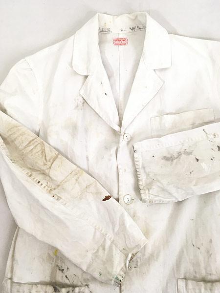 [6] 古着 50-60s INDU-TEX Industrial Whitewear ペンキ コットンツイル ショップ カー コート アジ 42 古着