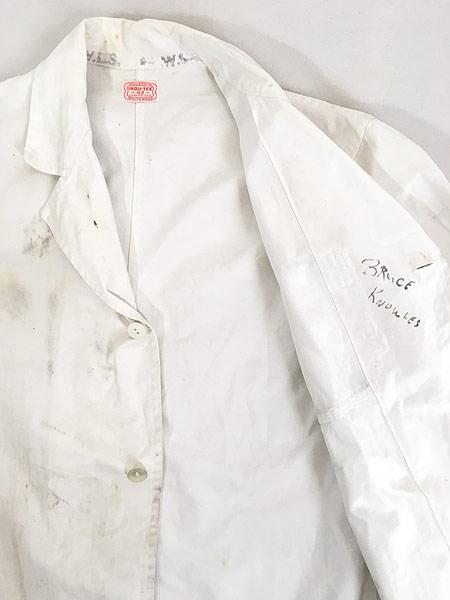 [7] 古着 50-60s INDU-TEX Industrial Whitewear ペンキ コットンツイル ショップ カー コート アジ 42 古着