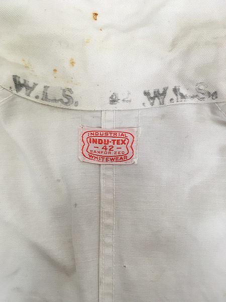 [8] 古着 50-60s INDU-TEX Industrial Whitewear ペンキ コットンツイル ショップ カー コート アジ 42 古着