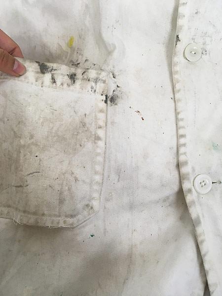 [9] 古着 50-60s INDU-TEX Industrial Whitewear ペンキ コットンツイル ショップ カー コート アジ 42 古着