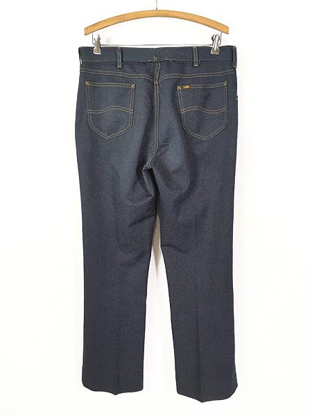 [3] 古着 80s USA製 Lee 200-4046 デニム テイスト スラックス パンツ ブーツカット W35 L30 古着