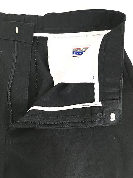 [7] 古着 90s Levi's Action Slacks 光沢 スラックス パンツ スリム!! 黒 W33 L30 古着