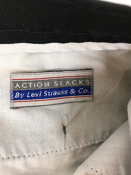 [8] 古着 90s Levi's Action Slacks 光沢 スラックス パンツ スリム!! 黒 W33 L30 古着