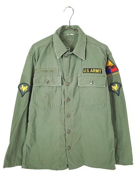 [1] 古着 60s 米軍 US ARMY 「1st 後期」 100% コットン サテン ミリタリー ファティーグ シャツ S位 古着