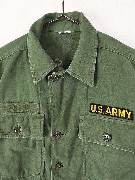 [2] 古着 60s 米軍 US ARMY 「1st 後期」 100% コットン サテン ミリタリー ファティーグ シャツ S位 古着