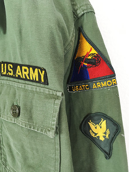 [3] 古着 60s 米軍 US ARMY 「1st 後期」 100% コットン サテン ミリタリー ファティーグ シャツ S位 古着