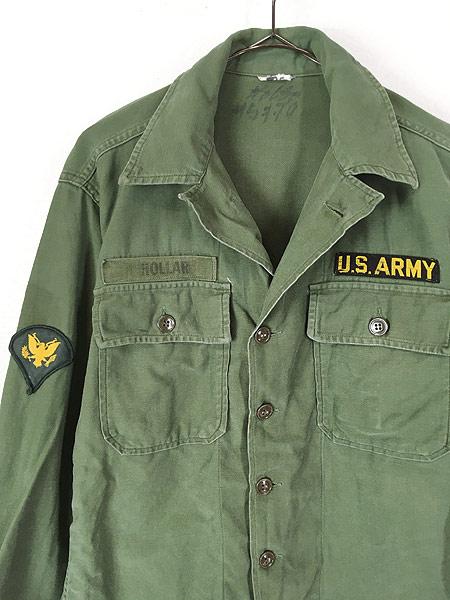 [4] 古着 60s 米軍 US ARMY 「1st 後期」 100% コットン サテン ミリタリー ファティーグ シャツ S位 古着
