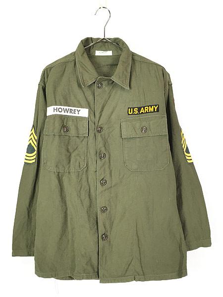 [1] 古着 60s 米軍 US ARMY 「1st 前期」 100% コットン サテン ミリタリー ファティーグ シャツ M 美品!! 古着