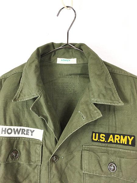 [3] 古着 60s 米軍 US ARMY 「1st 前期」 100% コットン サテン ミリタリー ファティーグ シャツ M 美品!! 古着