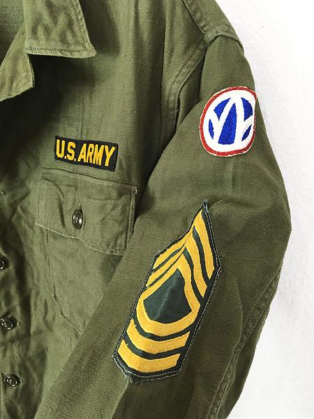 [4] 古着 60s 米軍 US ARMY 「1st 前期」 100% コットン サテン ミリタリー ファティーグ シャツ M 美品!! 古着