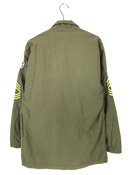 [5] 古着 60s 米軍 US ARMY 「1st 前期」 100% コットン サテン ミリタリー ファティーグ シャツ M 美品!! 古着