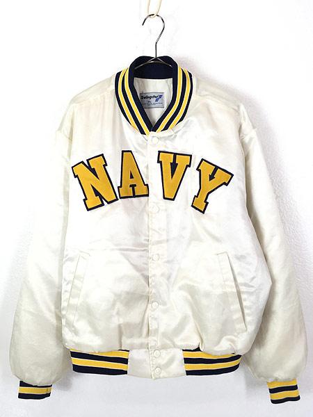 [1] 古着 80s USA製 Swingster 「NAVY」 パデット 光沢 サテン スタジアム ジャケット スタジャン XL 古着