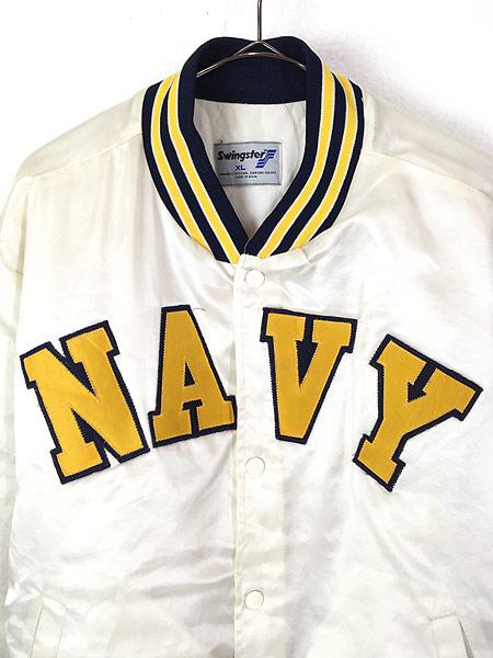 [2] 古着 80s USA製 Swingster 「NAVY」 パデット 光沢 サテン スタジアム ジャケット スタジャン XL 古着