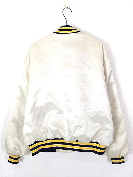 [4] 古着 80s USA製 Swingster 「NAVY」 パデット 光沢 サテン スタジアム ジャケット スタジャン XL 古着