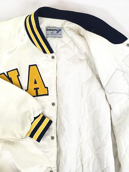 [5] 古着 80s USA製 Swingster 「NAVY」 パデット 光沢 サテン スタジアム ジャケット スタジャン XL 古着