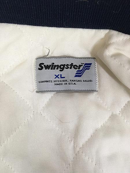 [6] 古着 80s USA製 Swingster 「NAVY」 パデット 光沢 サテン スタジアム ジャケット スタジャン XL 古着