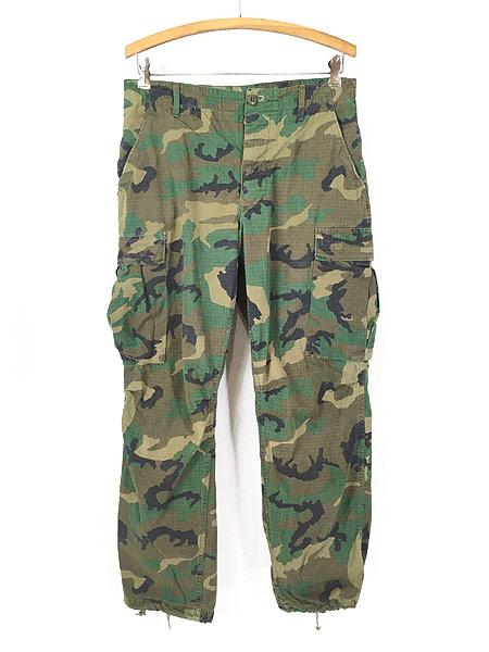 [1] 古着 70s 米軍 リーフ カモ 迷彩 POPLIN ミリタリー トロピカル ジャングル カーゴ パンツ S-R 古着