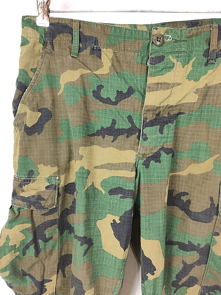 [2] 古着 70s 米軍 リーフ カモ 迷彩 POPLIN ミリタリー トロピカル ジャングル カーゴ パンツ S-R 古着