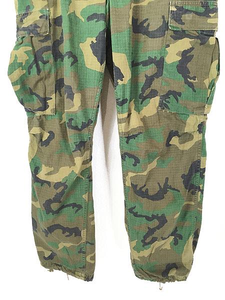 [3] 古着 70s 米軍 リーフ カモ 迷彩 POPLIN ミリタリー トロピカル ジャングル カーゴ パンツ S-R 古着