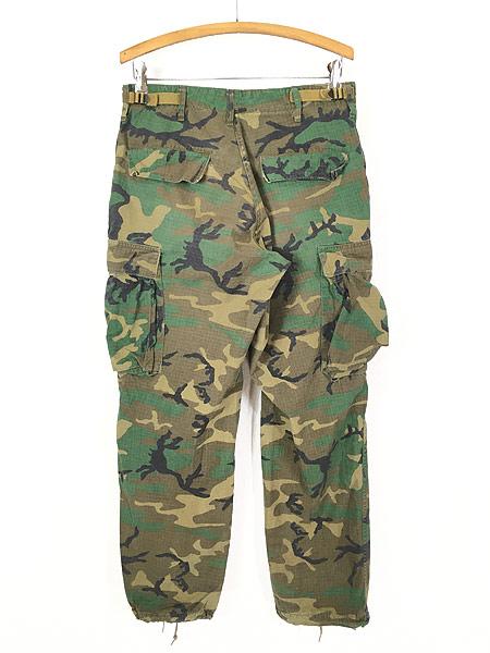 [4] 古着 70s 米軍 リーフ カモ 迷彩 POPLIN ミリタリー トロピカル ジャングル カーゴ パンツ S-R 古着