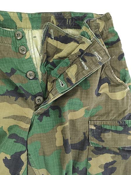 [7] 古着 70s 米軍 リーフ カモ 迷彩 POPLIN ミリタリー トロピカル ジャングル カーゴ パンツ S-R 古着