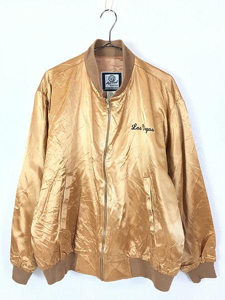 [1] 古着 90s USA製 CG 「Las Vegas」 メタリック ゴールド サテン ジャケット スタジャン L 古着