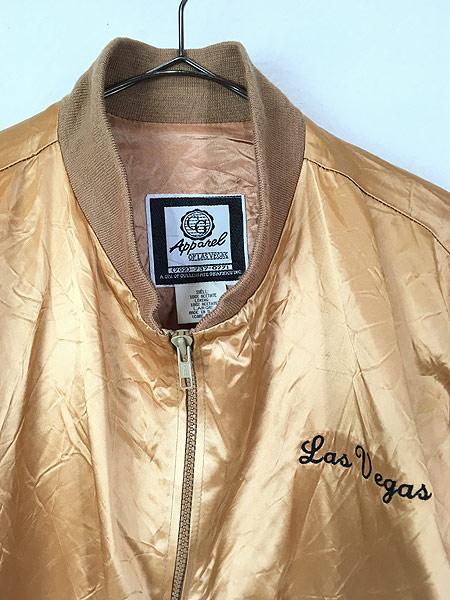 [2] 古着 90s USA製 CG 「Las Vegas」 メタリック ゴールド サテン ジャケット スタジャン L 古着