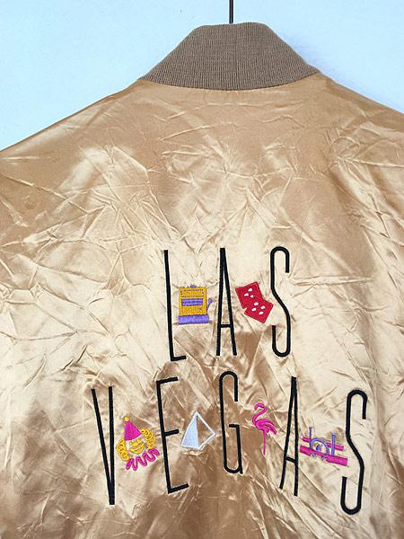 [5] 古着 90s USA製 CG 「Las Vegas」 メタリック ゴールド サテン ジャケット スタジャン L 古着
