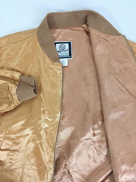 [6] 古着 90s USA製 CG 「Las Vegas」 メタリック ゴールド サテン ジャケット スタジャン L 古着