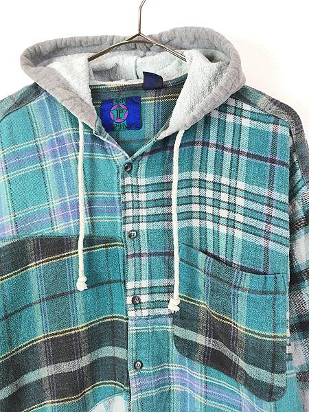 [2] 古着 90s スウェット フーデッド パッチワーク チェック フランネル シャツ パーカー XL 古着