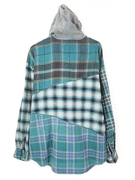 [3] 古着 90s スウェット フーデッド パッチワーク チェック フランネル シャツ パーカー XL 古着