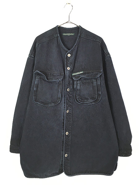 [1] 古着 80-90s Cross Colours Urban Outdoor Gear ヘビーオンス ブラック デニム ノーカラー ジャケット XL位 古着