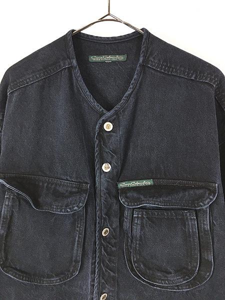 [2] 古着 80-90s Cross Colours Urban Outdoor Gear ヘビーオンス ブラック デニム ノーカラー ジャケット XL位 古着