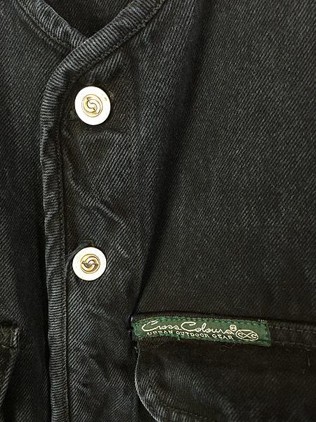 [3] 古着 80-90s Cross Colours Urban Outdoor Gear ヘビーオンス ブラック デニム ノーカラー ジャケット XL位 古着