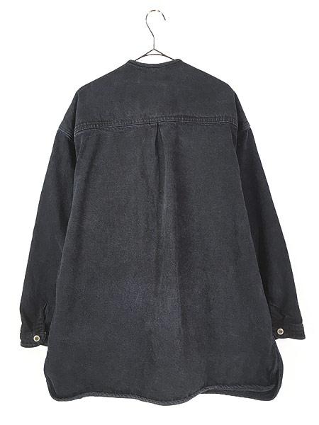 [4] 古着 80-90s Cross Colours Urban Outdoor Gear ヘビーオンス ブラック デニム ノーカラー ジャケット XL位 古着