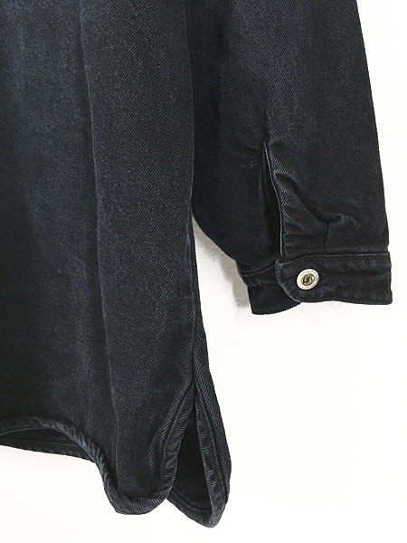 [5] 古着 80-90s Cross Colours Urban Outdoor Gear ヘビーオンス ブラック デニム ノーカラー ジャケット XL位 古着