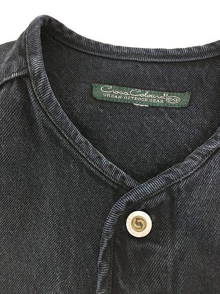 [6] 古着 80-90s Cross Colours Urban Outdoor Gear ヘビーオンス ブラック デニム ノーカラー ジャケット XL位 古着