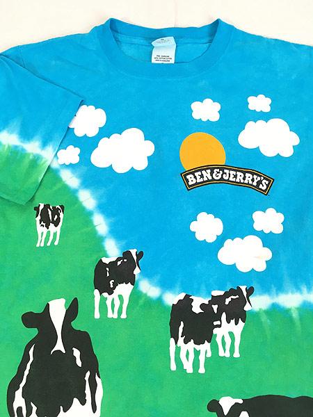 [3] 古着 90s BEN & JERRY'S アイス クリーム タイダイ オールオーバー プリント Tシャツ S 古着