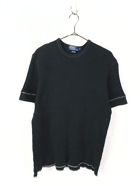 [1] 古着 POLO Ralph Lauren シンプル 半袖 ワッフル サーマル カットソー 黒 L 古着