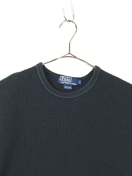 [2] 古着 POLO Ralph Lauren シンプル 半袖 ワッフル サーマル カットソー 黒 L 古着