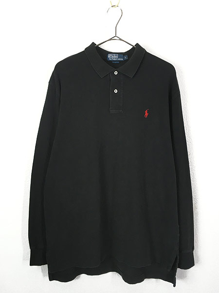 [1] 古着 POLO Ralph Lauren ワンポイント 長袖 カノコ ポロシャツ ロンポロ 黒 L 古着
