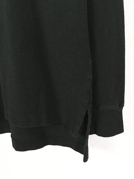 [3] 古着 POLO Ralph Lauren ワンポイント 長袖 カノコ ポロシャツ ロンポロ 黒 L 古着