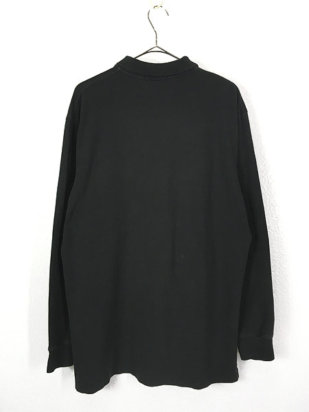 [4] 古着 POLO Ralph Lauren ワンポイント 長袖 カノコ ポロシャツ ロンポロ 黒 L 古着