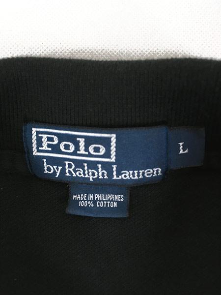 [7] 古着 POLO Ralph Lauren ワンポイント 長袖 カノコ ポロシャツ ロンポロ 黒 L 古着